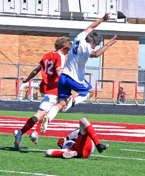 Chippewa's Nick Long goes airborne against Norwayne early during the 2020 season.