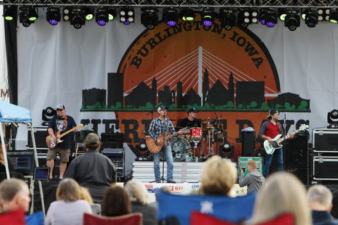 The band StumpTown, entertains the audience during Friday Fest at Burlington Heritage Days, Friday Sept. 18, 2020 in front on Memorial Auditorium.