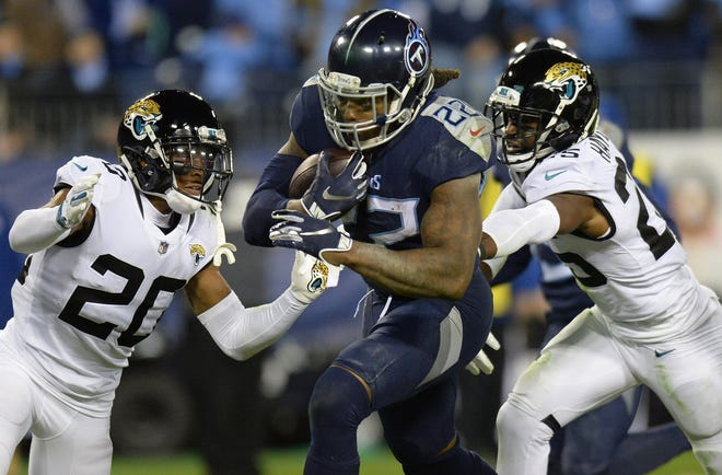 Tennessee Titans running back Derrick Henry (22) has rushed for 508 yards against the Jaguars at Nissan Stadium since 2016. Mark Zaleski/AP Photo