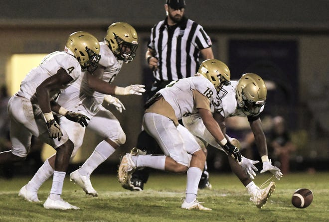 Fleming Island's Dedric Walker (24), accompanied by teammates including Darryl Nesmith (4) and Colt Hyams (18), scoops up and returns a Fletcher fumble for a touchdown Friday night.