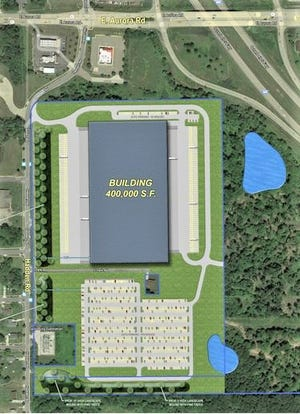 This conceptual plan shows that a 400,000-square-foot warehouse/distribution center could be built on about 40 acres in Twinsburg Township, south of Route 82 and east of Hadden Road.