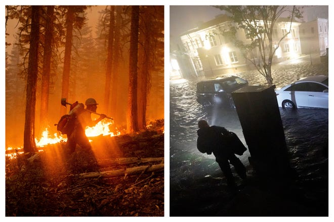 This combination of photos shows a firefighter at the North Complex Fire in Plumas National Forest, Calif., on Monday, left, and a person using a flashlight on flooded streets in search of their vehicle Wednesday in Pensacola. In the past week, swaths of the country have been burning and flooding in devastating extreme weather disasters.