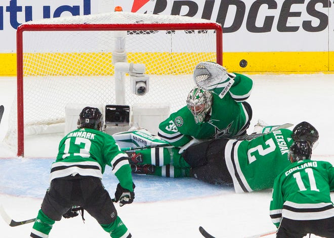 Goalie Anton Khudobin, defenseman Jamie Oleksiak (2) and the Dallas Stars open the Stanley Cup final on Saturday against the Tampa Bay Lightning.