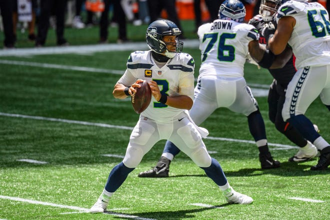 Seattle Seahawks quarterback Russell Wilson threw  for 322 yards and four touchdowns in last week's 38-25 romp over Atlanta.