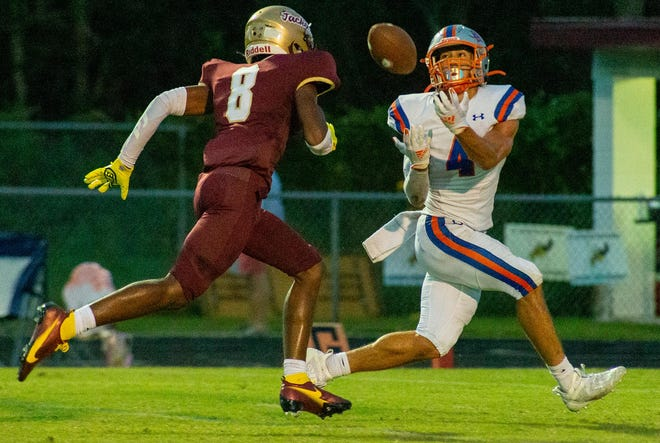 Bolles wide receiver Davis Ellis catches a deep pass against St. Augustine. The Bulldogs travel to South Sumter in the Class 4A football playoffs.