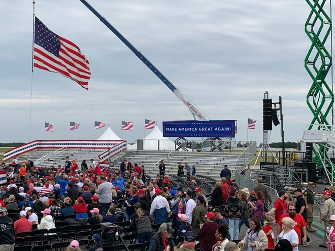 People are seated at the Donald Trump rally Saturday in Fayetteville.