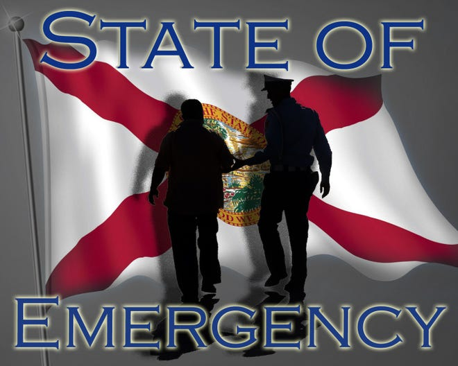 State law says that certain crimes, particularly theft, burglary and robbery, committed within a county that is subject to a state of emergency automatically raises the felony one degree — if the crime is facilitated by conditions arising from the emergency. [Photo illustration by Brad McClenny/Gainesville Sun]