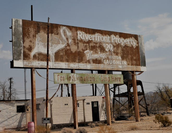 Inviting signs from the past are inviting no more in the Mojave Desert town of Essex, Calif.