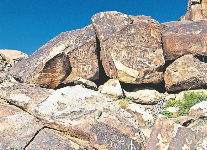 Petroglyphs in Grapevine Canyon near Laughlin, Nevada.