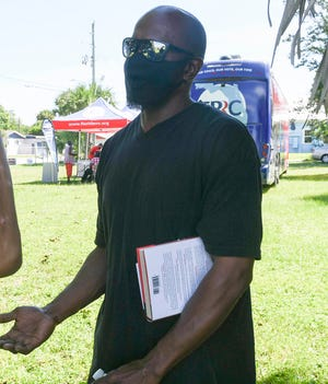 Jason Morice talks about trying to get his voting rights restored during Saturday's Day of Action Census and voting rights event held by the Florida Rights Restoration Coalition at the Evans Center in Palm Bay. Craig Bailey/FLORIDA TODAY via USA TODAY NETWORK
