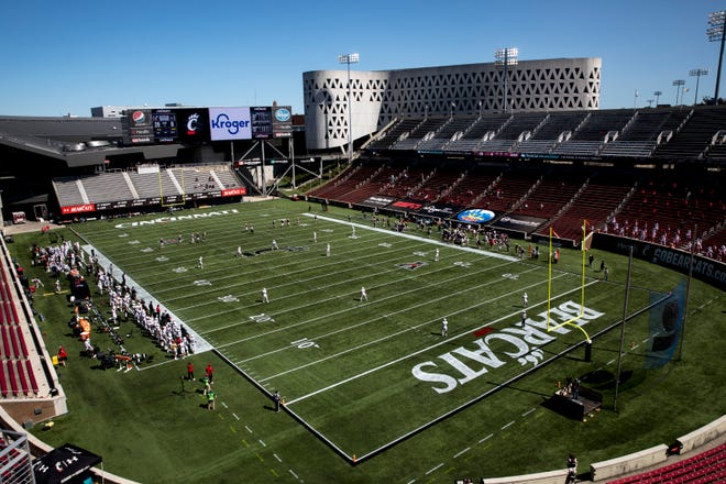 Cincinnati Bearcats prepares to receive a kickoff in the third quarter of the NCAA football game between Cincinnati Bearcats and Austin Peay Governors on Saturday, Sept. 19, 2020, at Nippert Stadium in Cincinnati. Cincinnati Bearcats won 55-20.