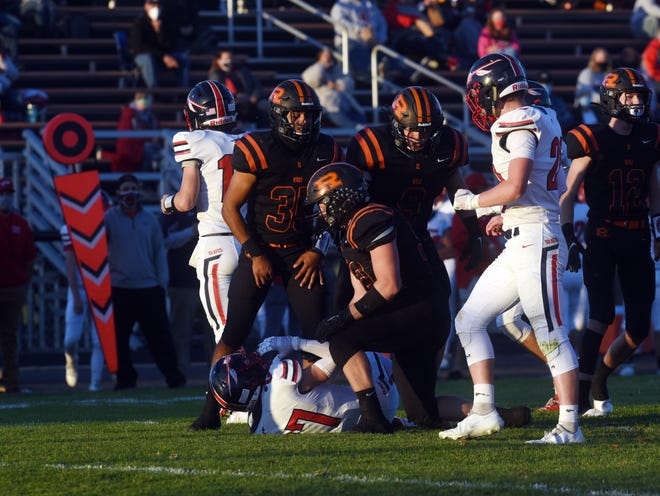 Ridgewood's defense swarms over Gavin Henry during a 34-7 win against Indian Valley. The Generals were the second seed in Division V, Region 19 and received a bye to the next round.
