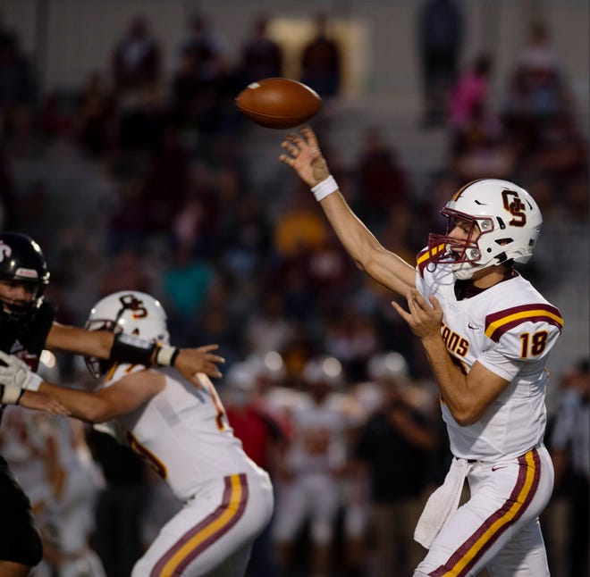 Gibson Southern's Brady Allen (18) makes a pass against Southridge during their game at Raider Field in Huntingburg, Ind., Friday night, Sept. 18, 2020.