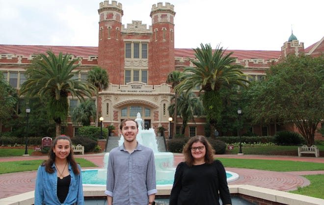 """(left to right) Isabel Fain (sophomore), Thomas Hart (senior) and Emily Mason (senior) all worked hard to make """"The News Room"""" a relatable and funny podcast for FSU students to enjoy."""