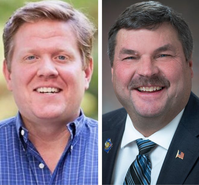 Kirk Bangstad, left, and State Rep. Rob Swearingen, right.