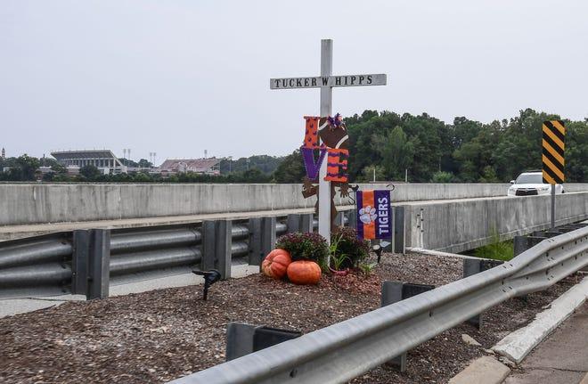 A memorial cross on the S.C. 93 bridge for the late Tucker Hipps near Clemson University Saturday, September 19, 2020.