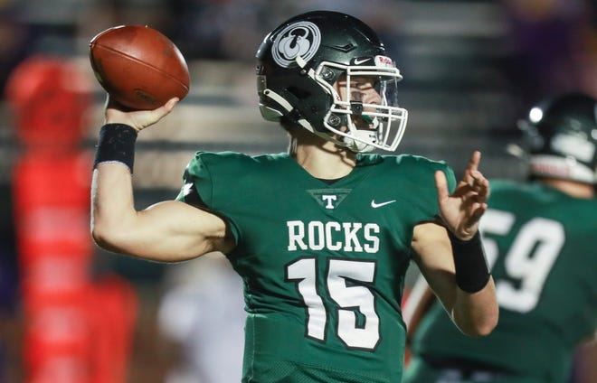 Trinity quarterback Nathan McElroy completed 11 of 20 passes for 140 yards with a 48-yard touchdown pass as the Shamrocks beat Male 43-14 Friday evening. Sept. 18, 2020