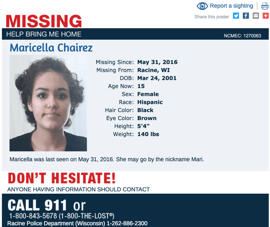 Maricella was reported missing May 31, 2016.