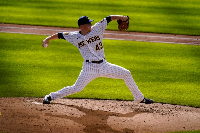 Brewers reliever Drew Rasmussen's fastball is averaging 97.8 mph, ninth-fastest in the majors.