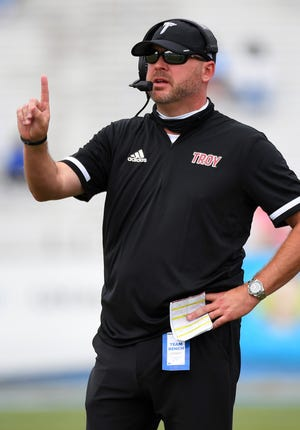 Sep 19, 2020; Murfreesboro, Tennessee, USA; Troy Trojans head coach Chip Lindsey during the first half against the Middle Tennessee Blue Raiders at Floyd Stadium.  Mandatory Credit: Christopher Hanewinckel-USA TODAY Sports