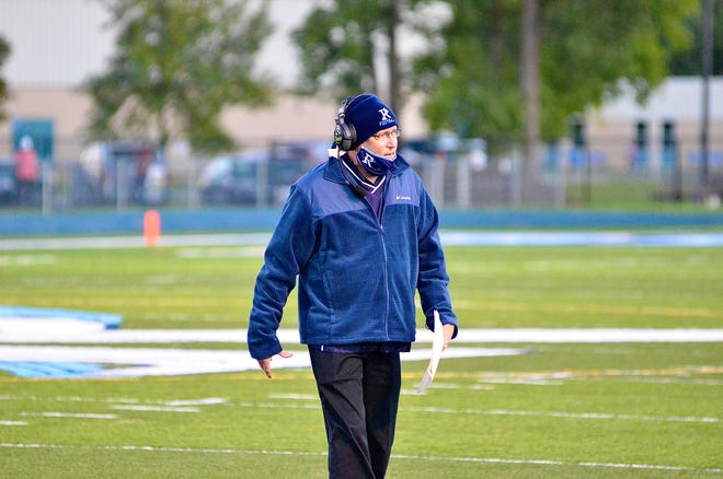 Richmond coach John Kocher walks off the field during a Blue Water Area Conference football game on Sept. 18, 2020, at Richmond.