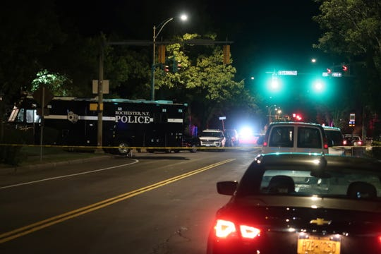 The Rochester Police Department mobile command unit at the scene of a mass shooting on Pennsylvania Avenue where 16 people were shot.