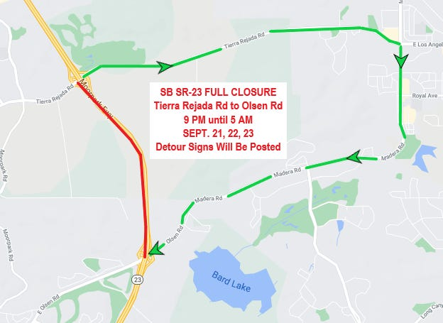 Caltrans will close southbound Highway 23 overnight next week to perform roadway construction, adding a detour from Tierra Rejada and Madera roads for the duration. of the closure.