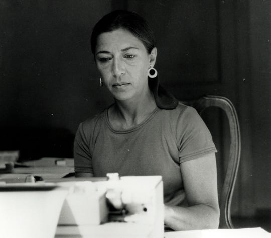 Ruth Bader Ginsburg types while on a Rockefeller Foundation fellowship in Italy in 1977.