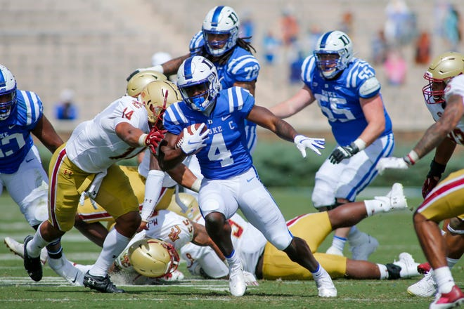 Duke running back Deon Jackson (4) rushed for a team-high 74 yards on Saturday but the Blue Devils were plagued by five turnovers, including two in the red zone against Boston College.