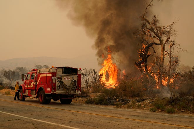 A San Bernardino County Fire Department member keeps an eye on a flareup from the Bobcat Fire on Saturday in Valyermo, Calif.
