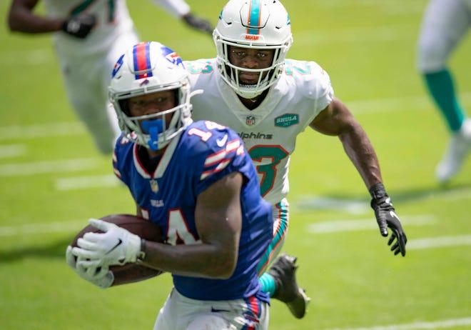 Dolphins cornerback Noah Igbinoghene is beaten for a touchdown by Buffalo Bills receiver Stefon Diggs.