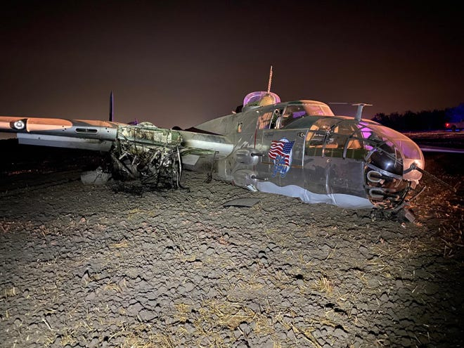 """""""Old Glory,"""" a historic B-25 World War II bomber, crash landed Saturday evening onto an open field southwest of Stockton with a crew of three aboard. One walked away while two were transported to an area hospital, according to the San Joaquin County Sheriff's Office. Their injuries appear to be non-life-threatening."""