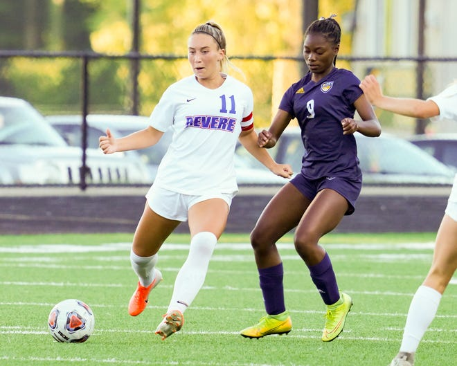 Mariah Embry defends against a very aggressive Revere offense in Streetsboro on September 19, 2020.