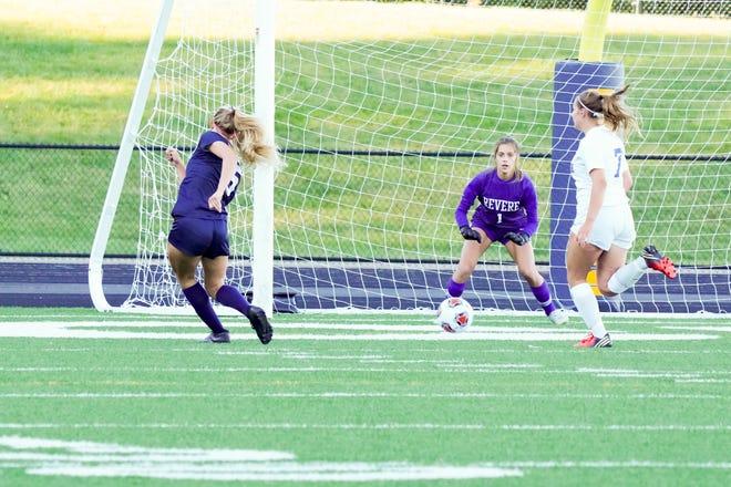 Streetsboro junior Emma Flick scores the go-ahead goal with an open run against Revere Saturday.
