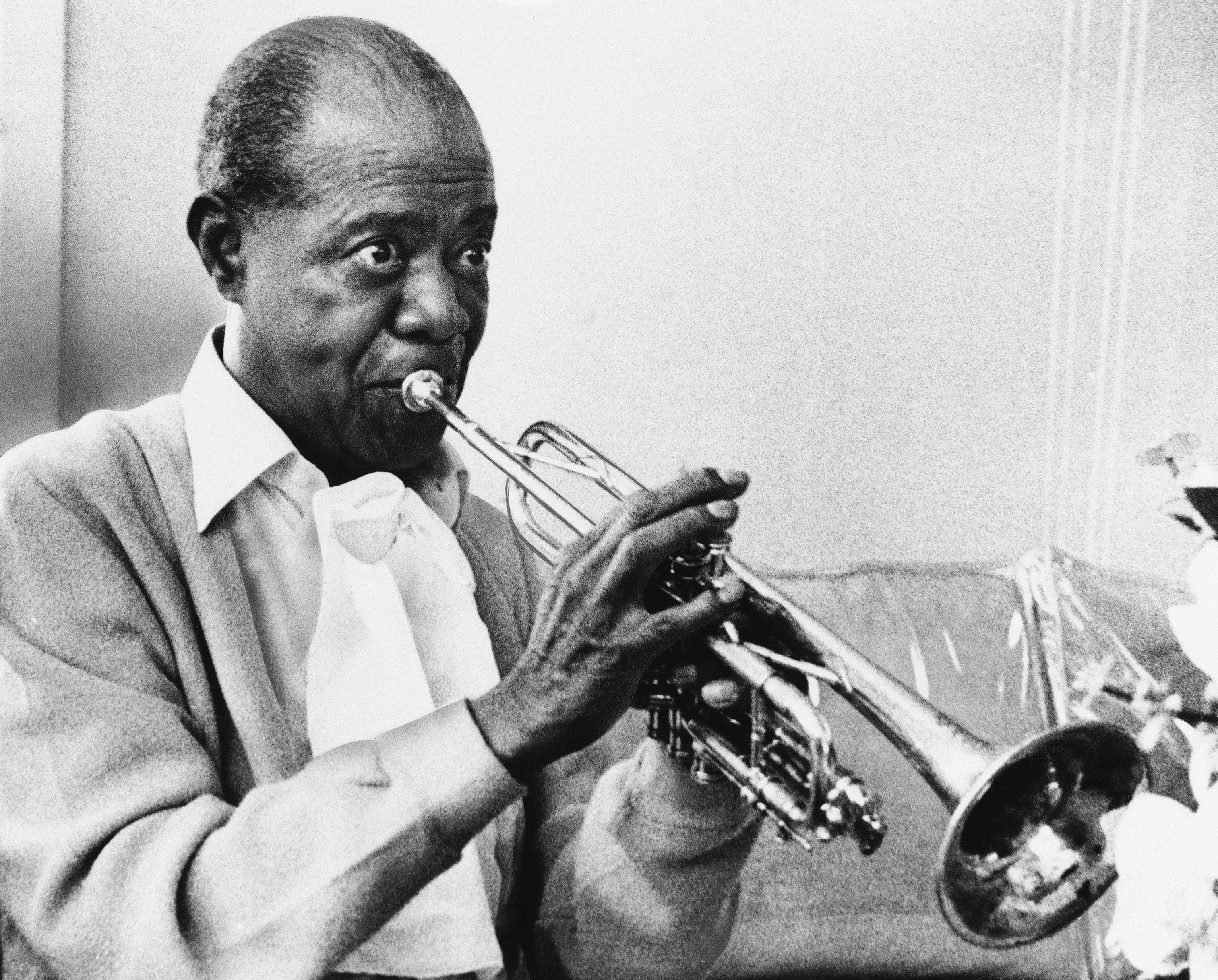 """Jazz musician Louis Armstrong, pictured in 1971, joined Jimmie Rodgers to record """"Standing On The Corner (Blue Yodel #9)."""""""