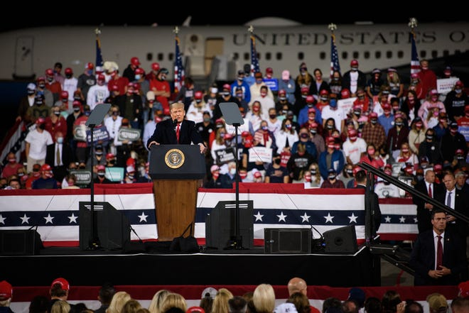 President Donald Trump speaks at a campaign rally at the Fayetteville Regional Airport on Saturday, Sept. 19, 2020.
