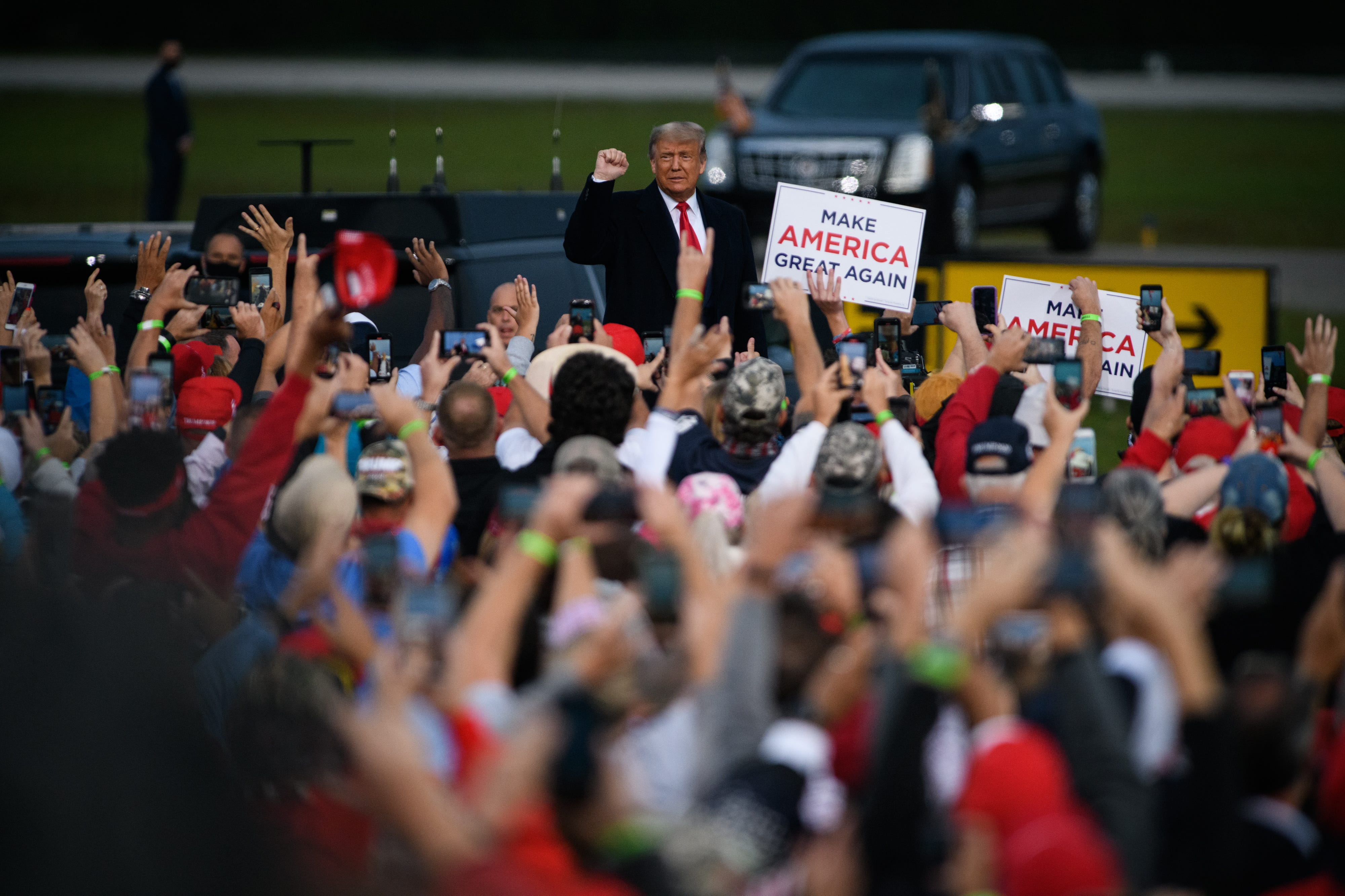 President Donald Trump campaign rally at the Fayetteville Regional Airport in Fayetteville, N.C., on Sept. 19. Trump has visited the Tar Heel state regularly this campaign season.