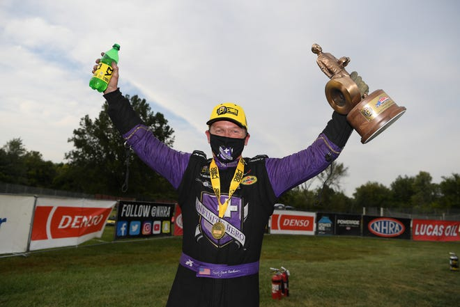 Jack Beckman won the Funny Car division at the NHRA U.S. Nationals at Lucas Oil Raceway in Indianapolis earlier this month.