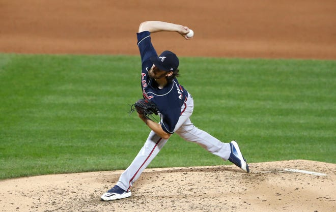 Atlanta's Ian Anderson pitches against the New York Mets on Saturday.