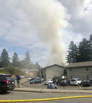 A fire Sunday sent at least one person to the hospital.