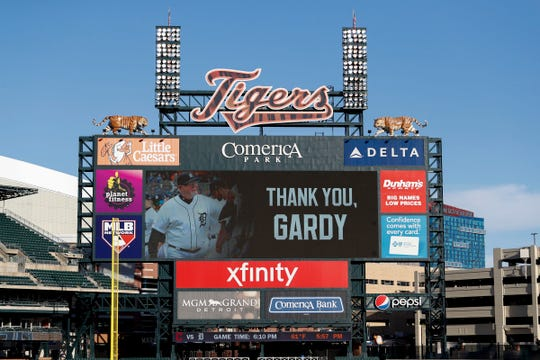 The Comerica Park video board pays tribute to former Detroit Tigers manager Ron Gardenhire before the game against the Cleveland Indians, Sept. 19, 2020. Gardenhire announced his retirement in the afternoon.