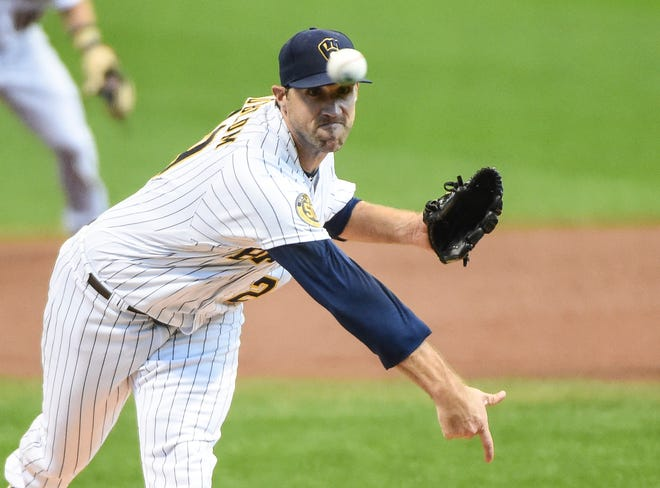 Brewers starting pitcher Josh Lindblom allowed just one run on three hits with no walks and two strikeouts in 5 1/3 innings against the Royals.