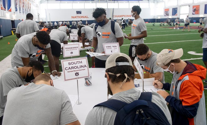 Auburn football players had the opportunity to register to vote on Saturday, Sept. 19, 2020 in Auburn, Ala.
