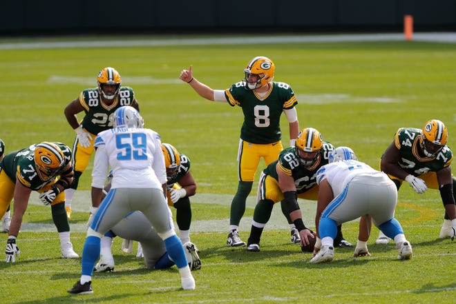 Green Bay Packers quarterback Tim Boyle (8) runs the offense against the Detroit Lions during their football game Sunday, September 20, 2020, at Lambeau Field in Green Bay, Wis. Dan Powers/USA TODAY NETWORK-Wisconsin
