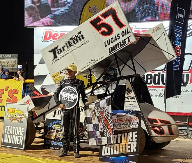 Kyle Larson is shown here after winning the Dirt Classic at Lincoln Speedway on Saturday night.
