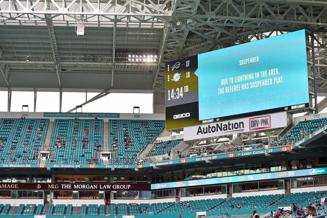 Sep 20, 2020; Miami Gardens, Florida, USA; A general view of a video board displaying the lighting delay during the second half between the Miami Dolphins and the Buffalo Bills at Hard Rock Stadium. Mandatory Credit: Jasen Vinlove-USA TODAY Sports