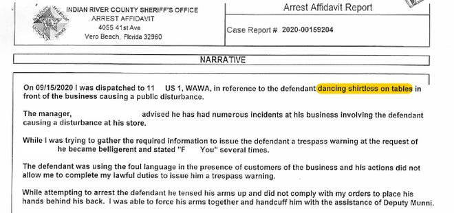 Excerpt from arrest affidavit