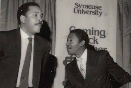 Vaughn Harper, left, and Robert Hill at Syracuse University September 24, 1983