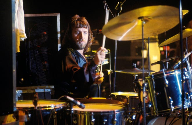 Drummer Lee Kerslake perform on stage with the band Uriah Heep in 1970.