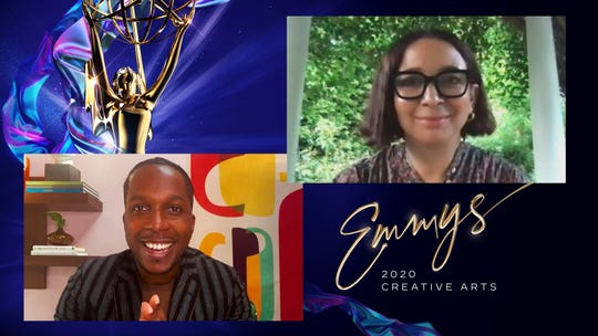 "Leslie Odom Jr. presents the Emmy to Maya Rudolph for her ""Saturday Night Live"" role as Kamala Harris at the 2020 Creative Arts Emmy Awards telecast."